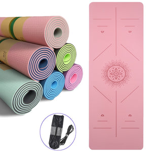6mm TPE Mandala Yoga Mat with Position Line