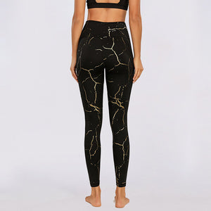 Black And Gold Yoga Leggings With Pocket