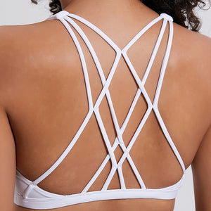 white yoga sports bra