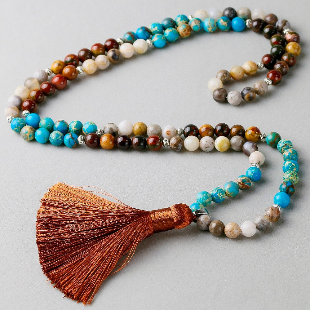 Natural Blue Imperial stone Mala Necklace