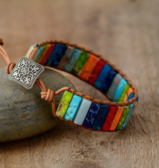 Jasper Yoga Handmade Beaded leather Wrap Woman natural rectangular Stone Bracelet 7 Chakra Boho Bracelets Woven Cuff Gemstone Bohemian