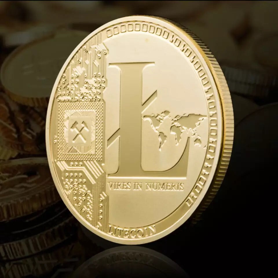 Gold Plated Litecoin Coin Digital Currency Commemorative Coins