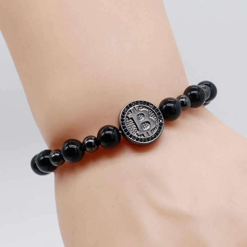 Bitcoin Bracelet Men Black Onyx