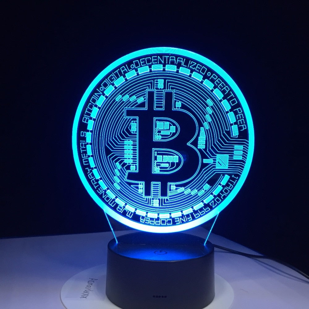 3D Led Bitcoin Night Lamp 7 Colorful Lights