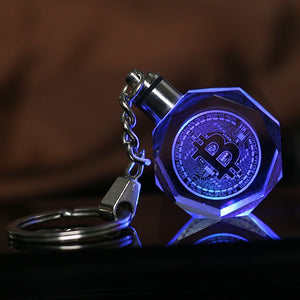 Laser Engraved Crystal Bitcoin Keychain Colorful LED Light Key Ring