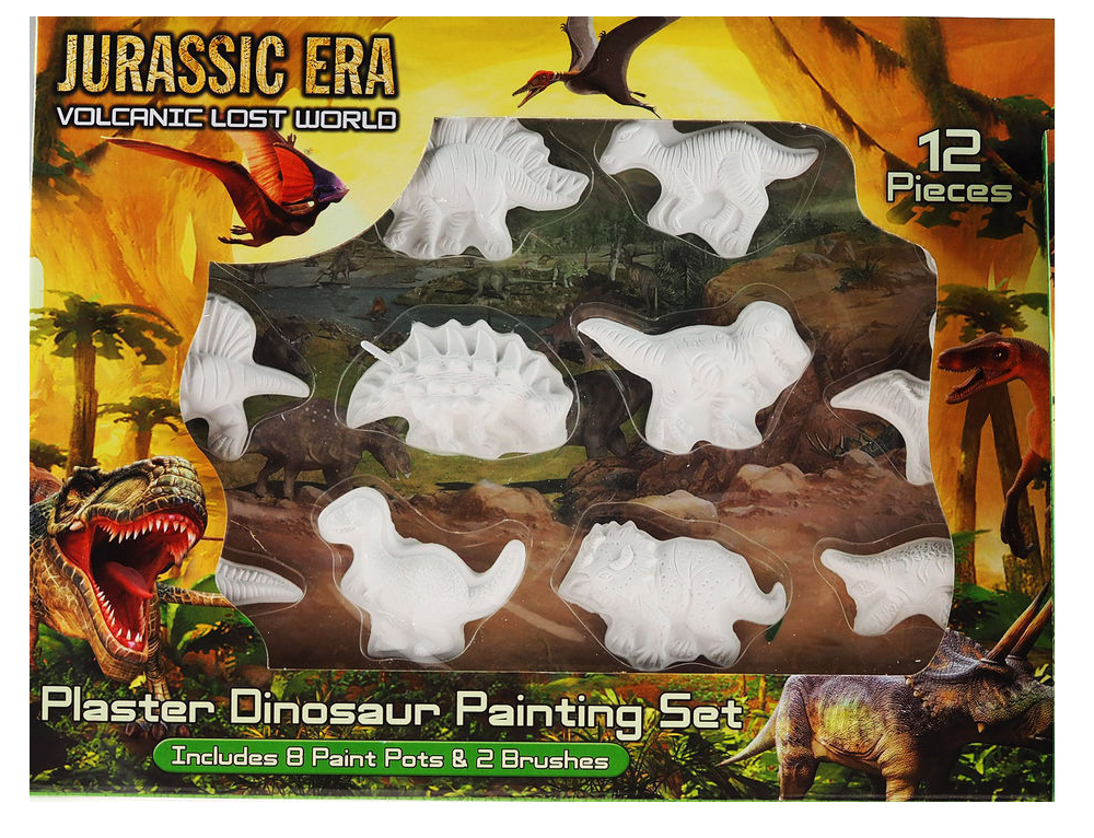 12 Pc Dinosaur Plaster Painting Set In Window Box