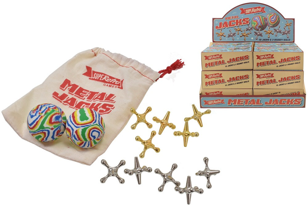 SupeRetro Traditional Metal Jacks Game with 10 Jacks and 2 Bouncy Balls