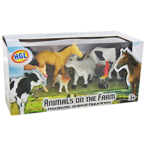 6 Piece Animals on the Farm Realistic Animal Figurines