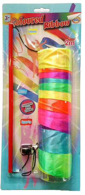 Coloured Ribbon Dance Stick 2m
