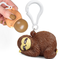 Pooing Sloth Bag Keyring Squeezy Poo Toy