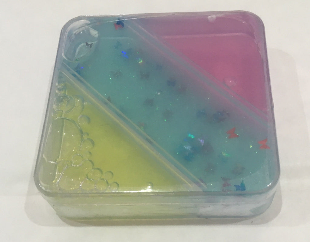 Square Transparent Putty Box with Glitter