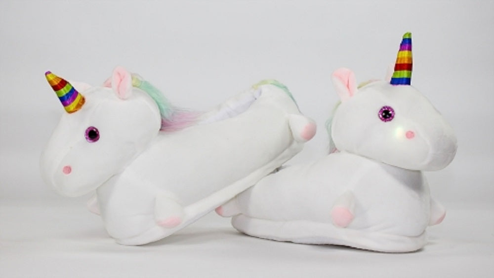 Rainbow Horn Adult LED Unicorn Slippers