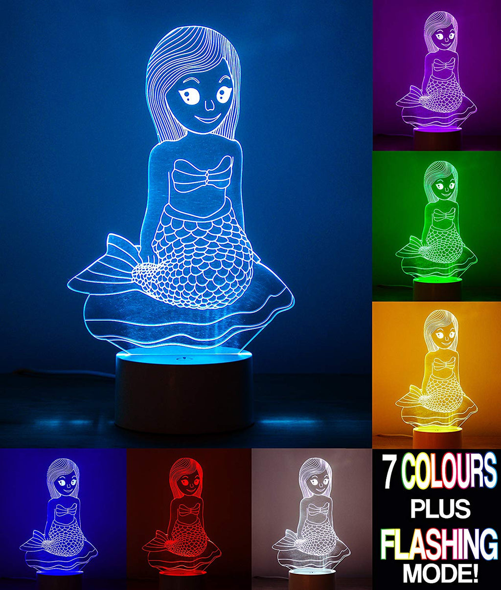 Mermaid 3D Optical Illusion Night Light