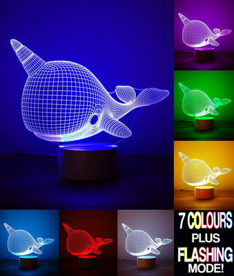 Optical Illusion 3D Whale Narwhal Lamp