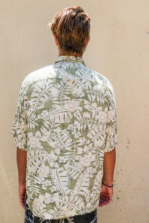 90's Green Aloha button up