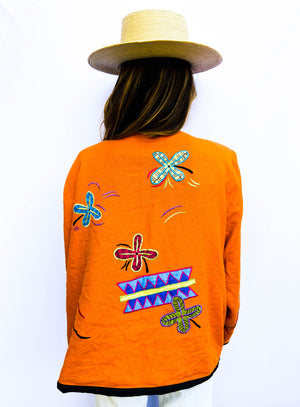 90s Embroidered Linen Spring Jacket