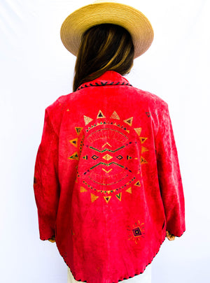 80s Suede Embroidered Jacket