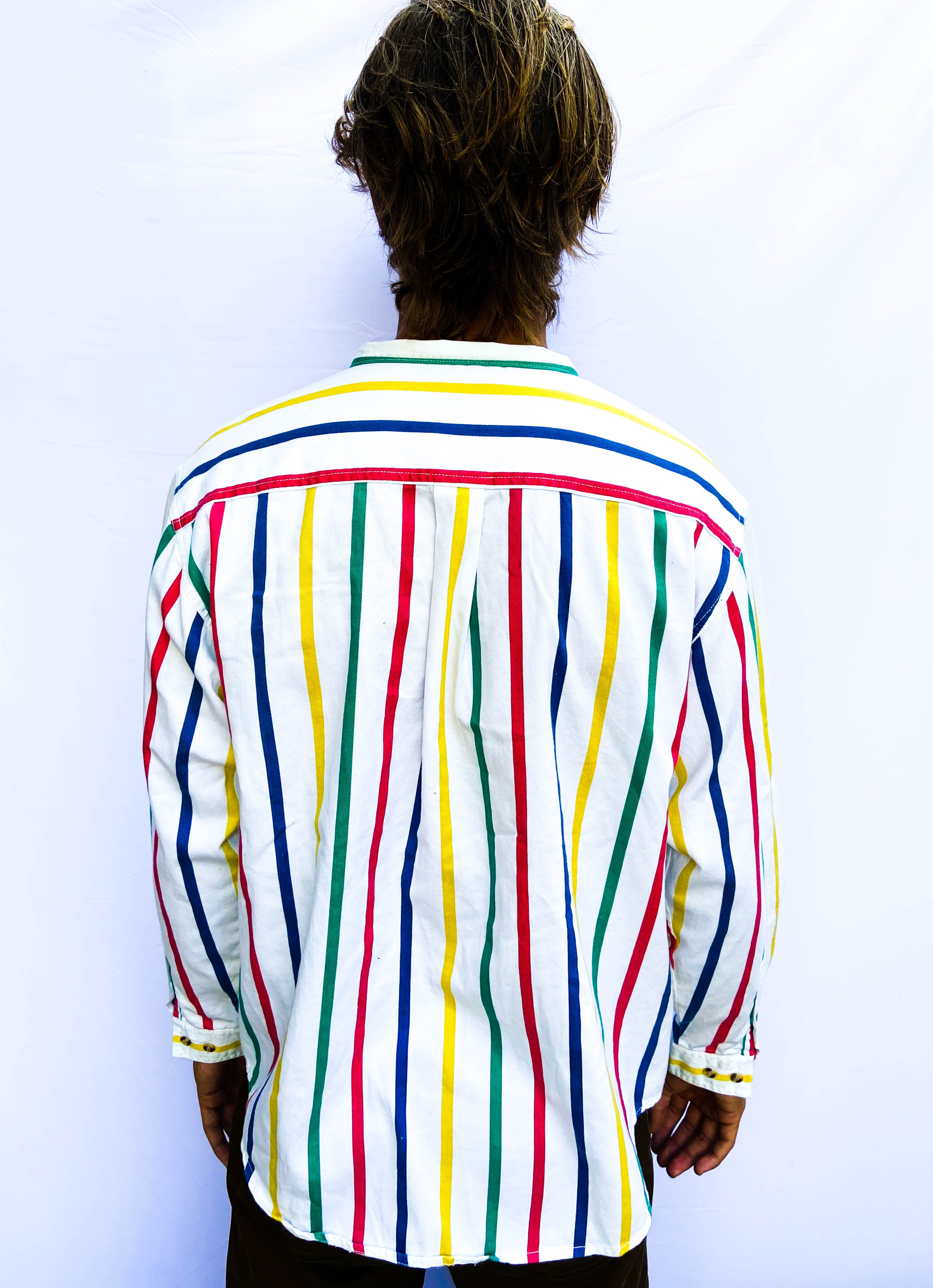 80s Striped Button Up