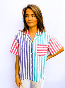 80s' Blocked Stripe Button Up