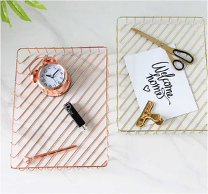 Rose Gold A4 Metal Tray Organizer