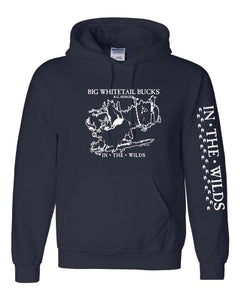 IN THE WILDS Hooded Sweatshirt BIG WHITETAIL BUCKS • R.G. BERNIER with sleeve print