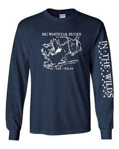 IN THE WILDS Navy Blue Long Sleeve Tee BIG WHITETAIL BUCKS • R.G. BERNIER With Sleeve Print