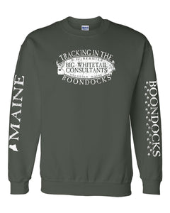 Boondocks Crew Neck Sweatshirt TRACKING IN THE BOONDOCKS • R.G. BERNIER MAINE