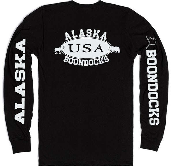 Boondocks Long Sleeve T-Shirt • ALASKA Moose & Bear Logo With Sleeve Prints
