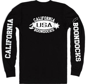 Boondocks Long Sleeve T-Shirt • CALIFORNIA Surfer & Sun Logo With Sleeve Prints