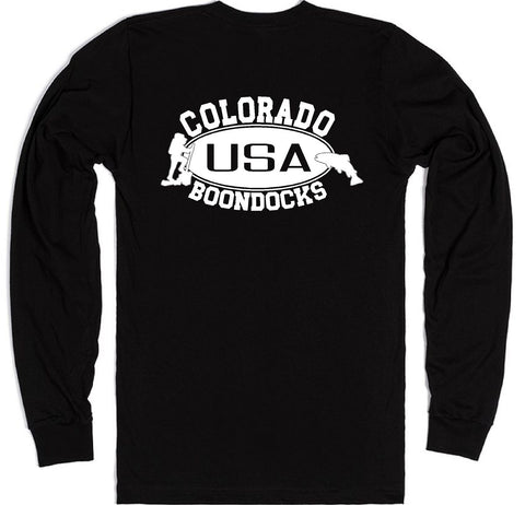 Boondocks Long Sleeve T-Shirt • COLORADO Hiker & Trout logo