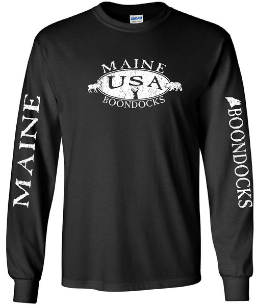 Boondocks Long Sleeve Tee MAINE BOONDOCKS DEER, BEAR, MOOSE, USA & SLEEVE PRINT