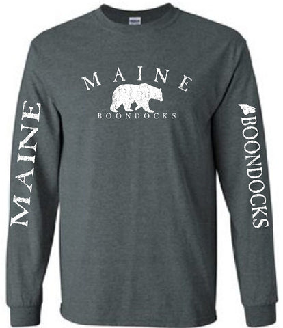 Boondocks Long Sleeve Tee MAINE ARCHED WITH BEAR & SLEEVE PRINT