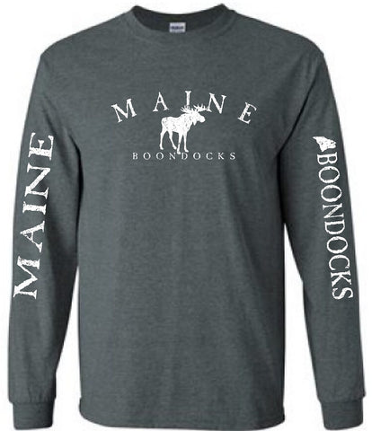 Boondocks Long Sleeve Tee MAINE ARCHED WITH MOOSE & SLEEVE PRINT
