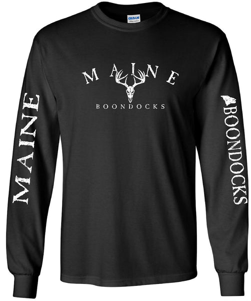 Boondocks Long Sleeve Tee MAINE ARCHED WITH DEER SKULL & SLEEVE PRINT