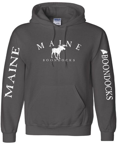 MAINE BOONDOCKS WITH MOOSE & SLEEVE PRINT Pullover Hooded Sweatshirt
