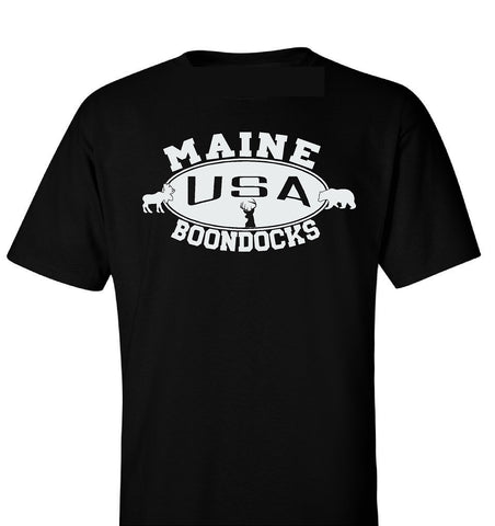 Boondocks T-Shirt • MAINE Deer, Bear & Moose Logo