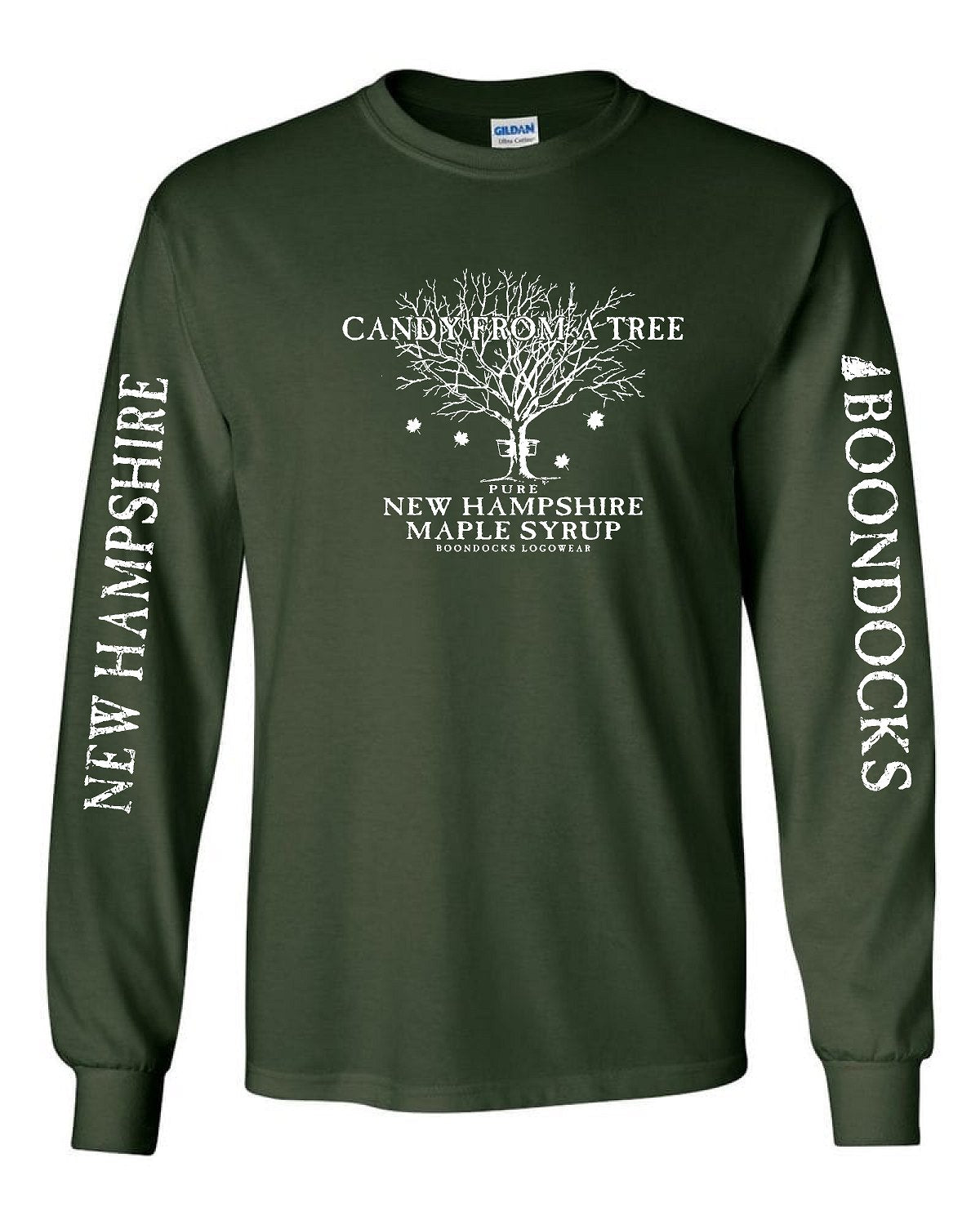 CANDY FROM A TREE • NEW HAMPSHIRE Long Sleeve T-Shirt • Distressed print NEW HAMPSHIRE & Boondocks on the sleeves