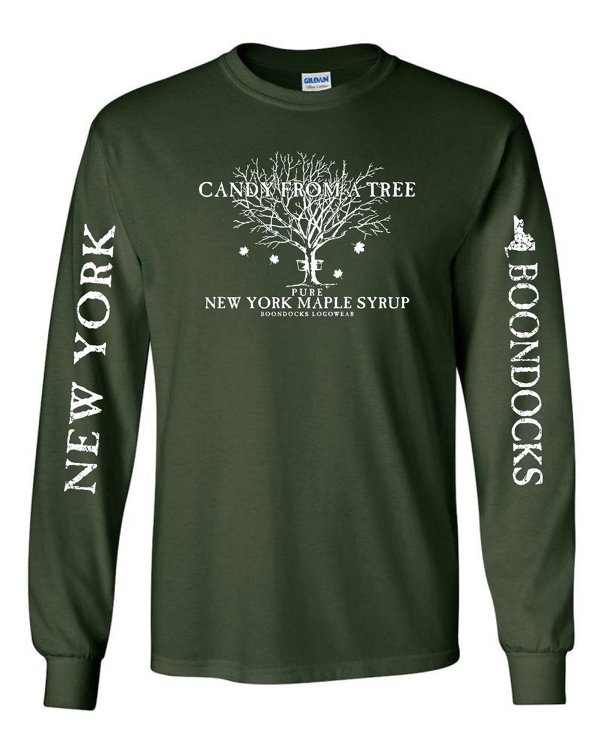 CANDY FROM A TREE • NEW YORK Long Sleeve T-Shirt • Distressed print NEW YORK & Boondocks on the sleeves