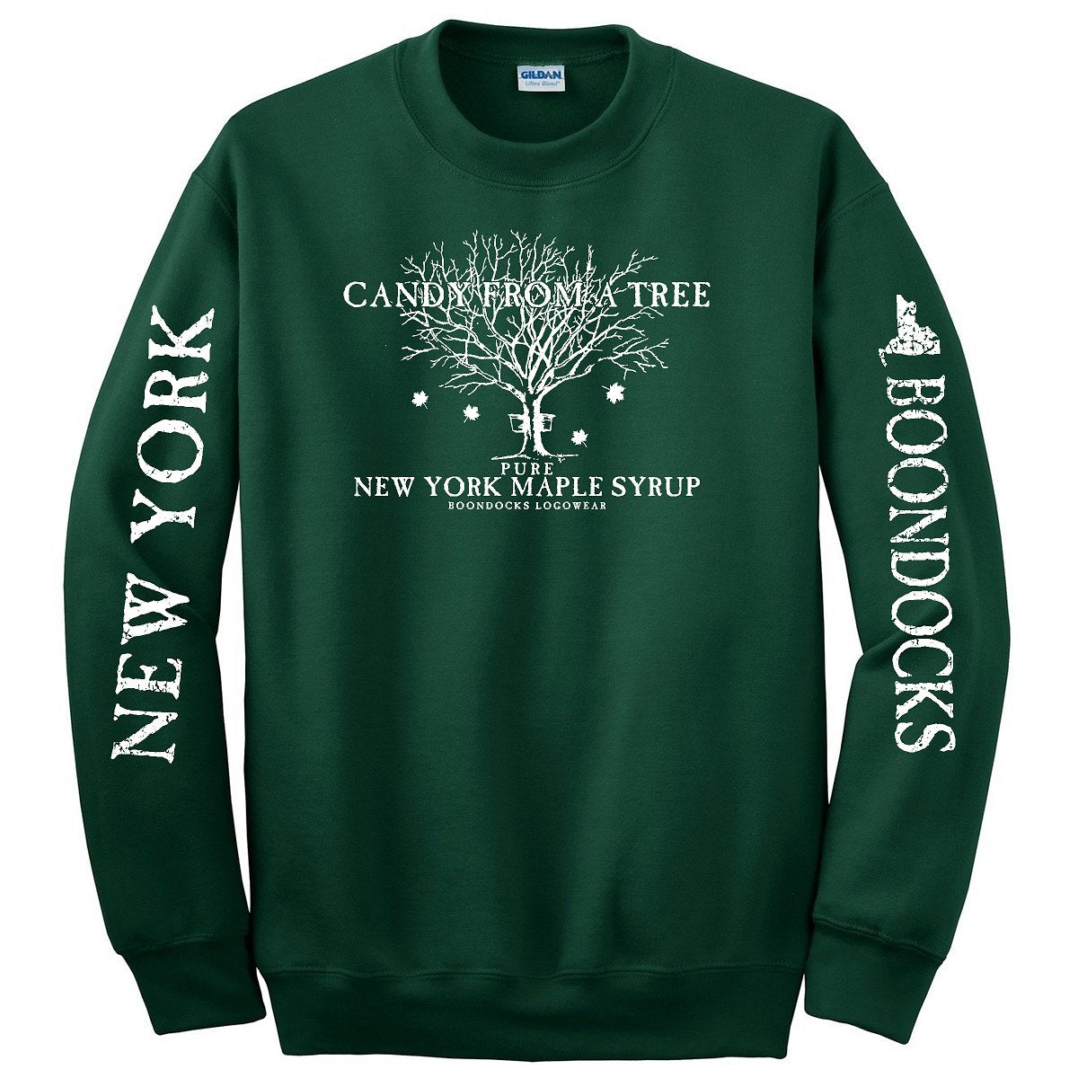 CANDY FROM A TREE NEW YORK Crew Neck Sweatshirt with Logo printed on the front and Distressed print Vermont & Boondocks on the sleeves.