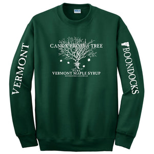 CANDY FROM A TREE VERMONT Crew Neck Sweatshirt with Logo printed on the front and Distressed print Vermont & Boondocks on the sleeves.