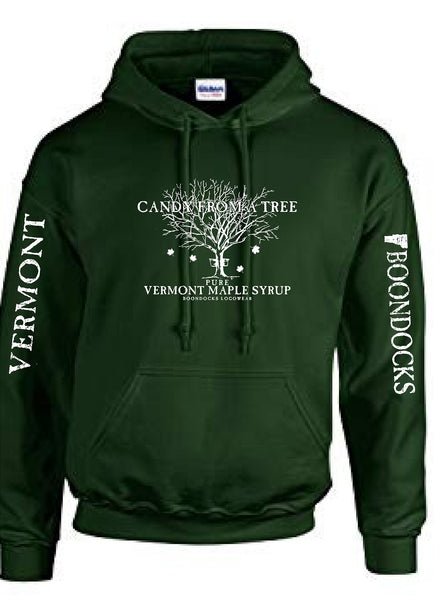 CANDY FROM A TREE VERMONT hooded Sweatshirt with Logo printed on the front and Distressed print Vermont & Boondocks on the sleeves