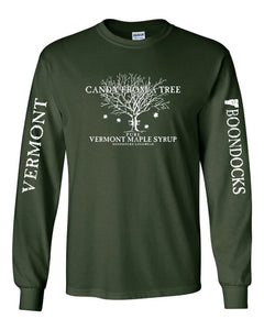 CANDY FROM A TREE • VERMONT Long Sleeve T-Shirt • Distressed print Vermont & Boondocks on the sleeves