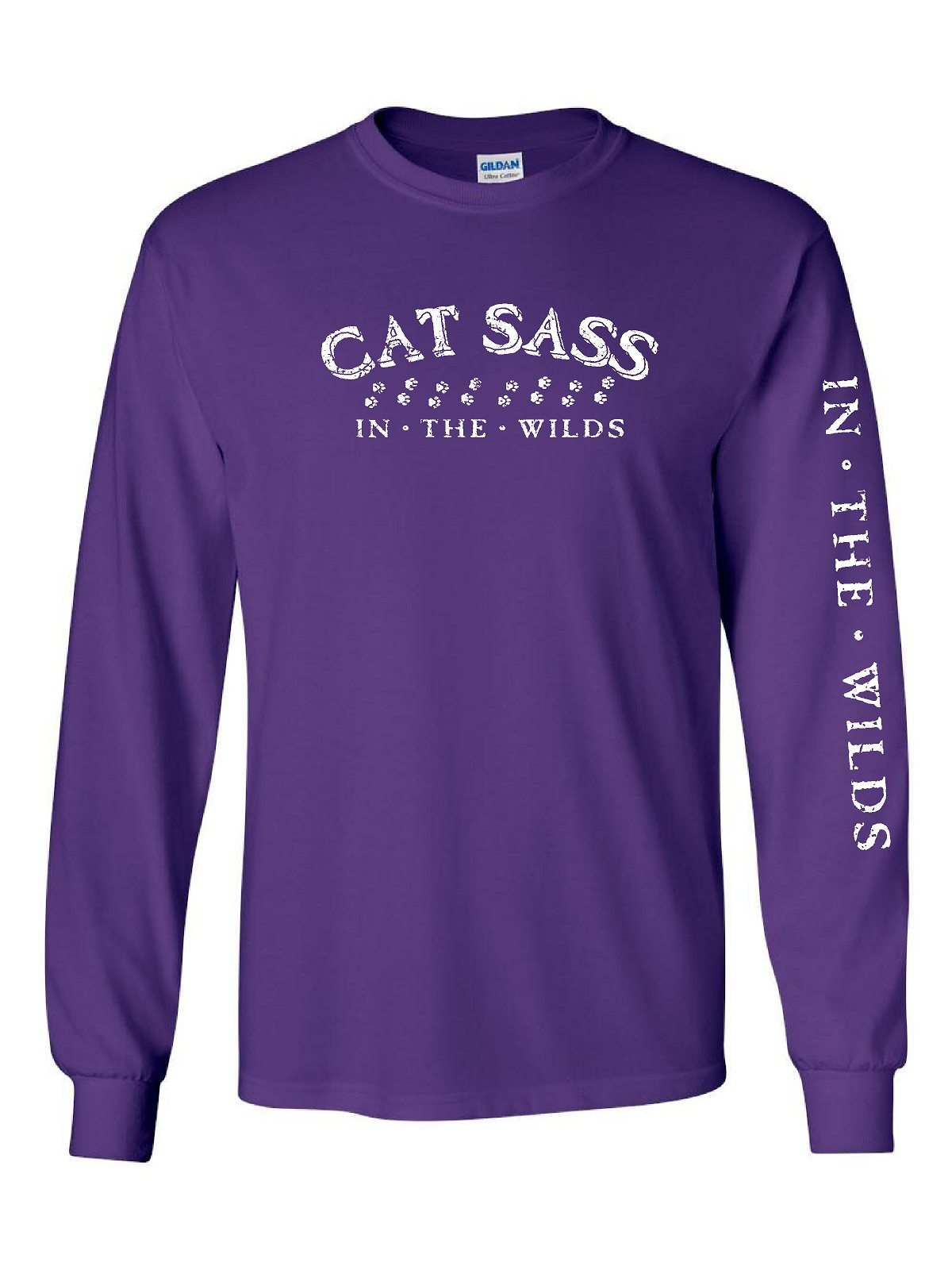 CAT SASS - IN THE WILDS LADIES PURPLE Long Sleeve Tee with sleeve print distressed look