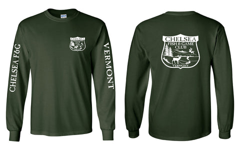 CHELSEA, VT FISH AND GAME BADGE LOGO Long Sleeve T-Shirt • VERMONT & CHELSEA F&G on the sleeves