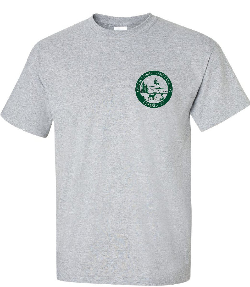 CHELSEA, VT FISH & GAME SHORT SLEEVE TEE, ROUND LOGO, left chest only, in youth & adult sizes