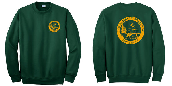 CHELSEA, VT FISH & GAME FRONT & BACK PRINTED LOGO - CREW NECK SWEATSHIRTS available in youth & adult sizes
