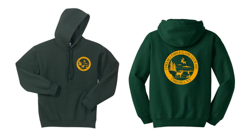 CHELSEA, VT FISH & GAME FRONT & BACK PRINTED LOGO - HOODED SWEATSHIRTS in youth & adult sizes