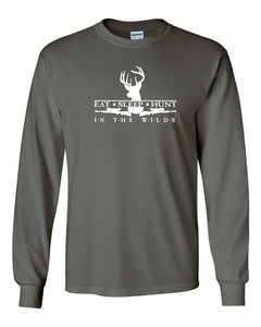 EAT SLEEP HUNT • IN THE WILDS® Deer Rifles & Buck Long Sleeve T-SHIRT