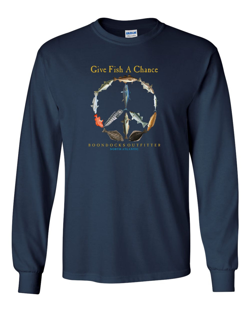 GIVE FISH A CHANCE • NORTH ATLANTIC Long Sleeve T-SHIRT