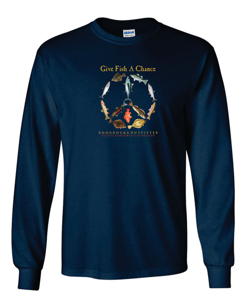 GIVE FISH A CHANCE • PACIFIC NORTHWEST • SPORTFISH Long Sleeve T-SHIRT